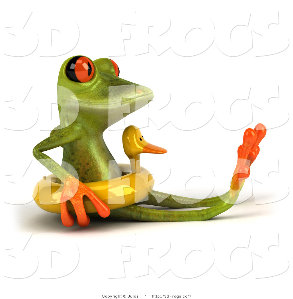 swimming frog clipart #3
