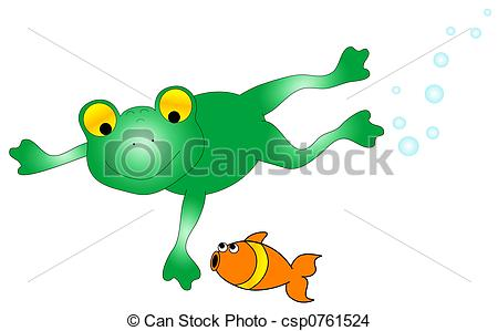 Drawing of Frog and Fish Graphic.