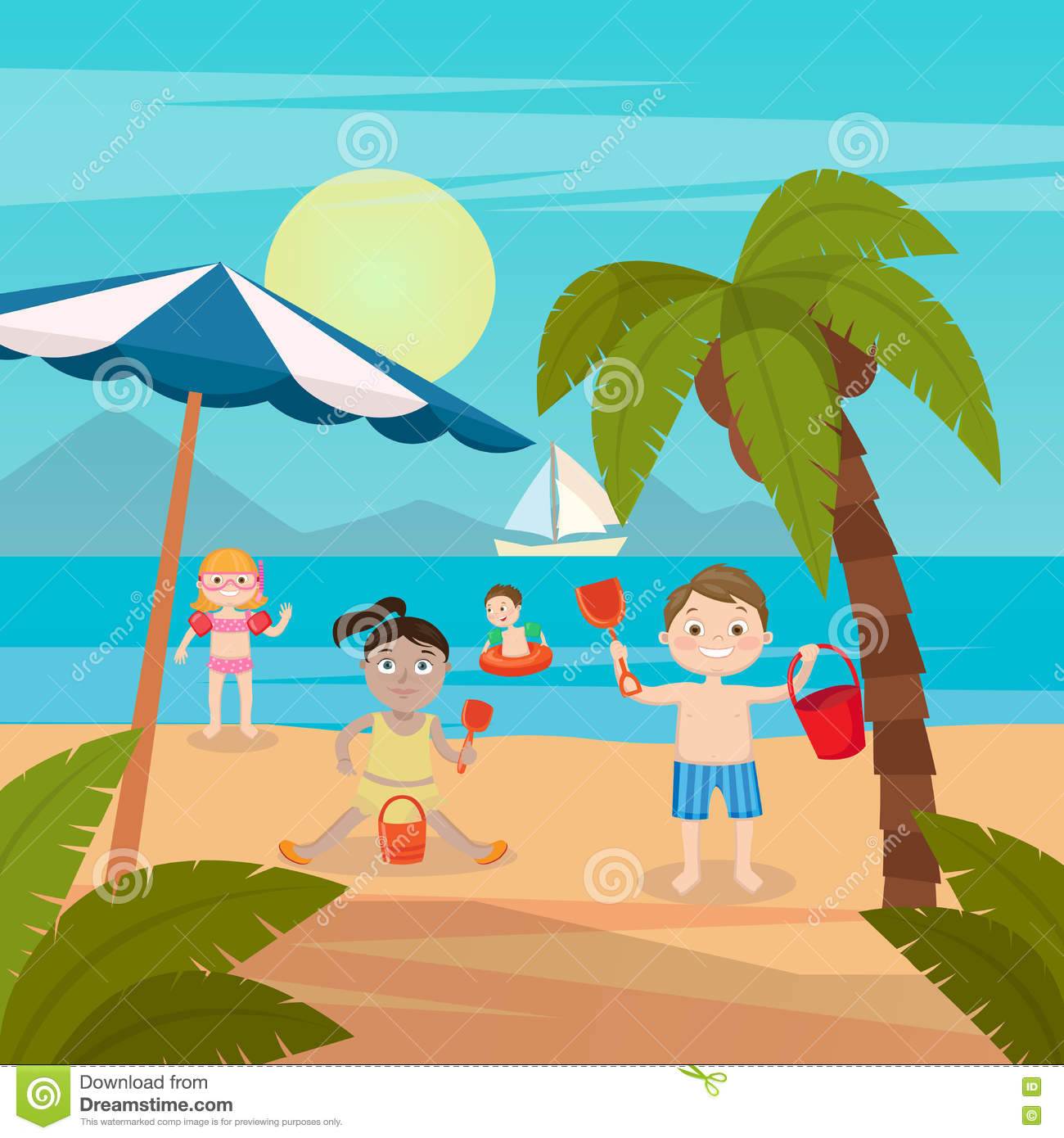 Beach Swimming Clipart.
