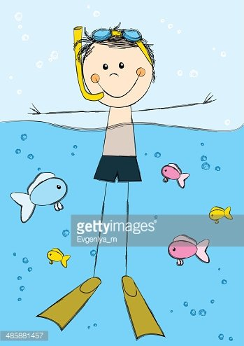Cute swimming boy on sea background Clipart Image.