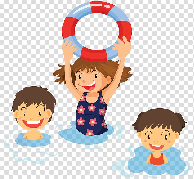 Three children smiling illustration, Swimming Child , kids.