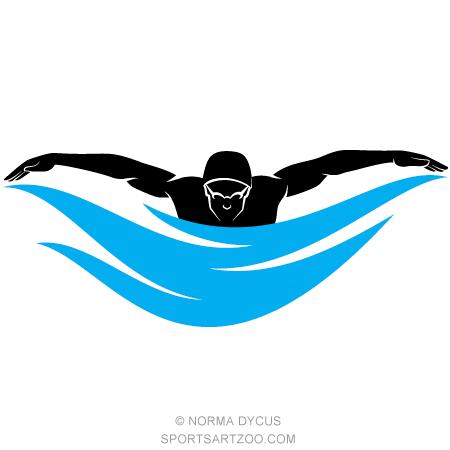 Male Swimmer Butterfly Stroke.