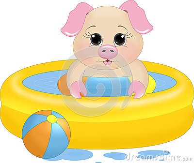 Pig Swimming Stock Illustrations.