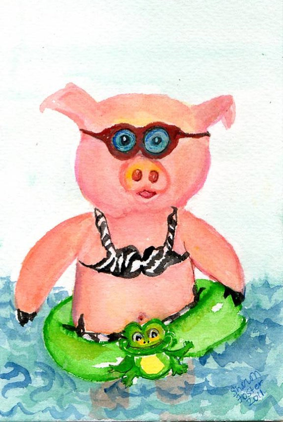 Swimming pig clipart #10
