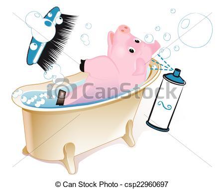 EPS Vectors of Pig in the bathroom.