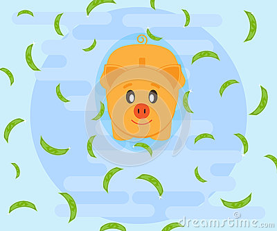 Squealing Swimming Pig Stock Illustrations.
