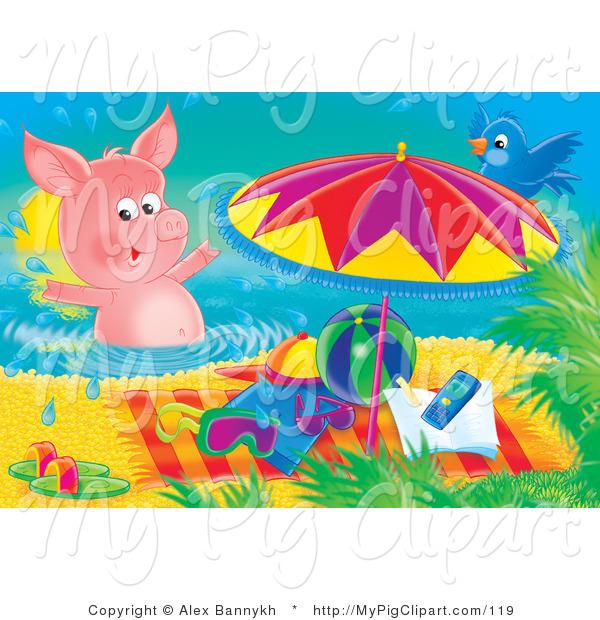 Swine Clipart of a Blue Bird Sitting on an Umbrella, Watching a.