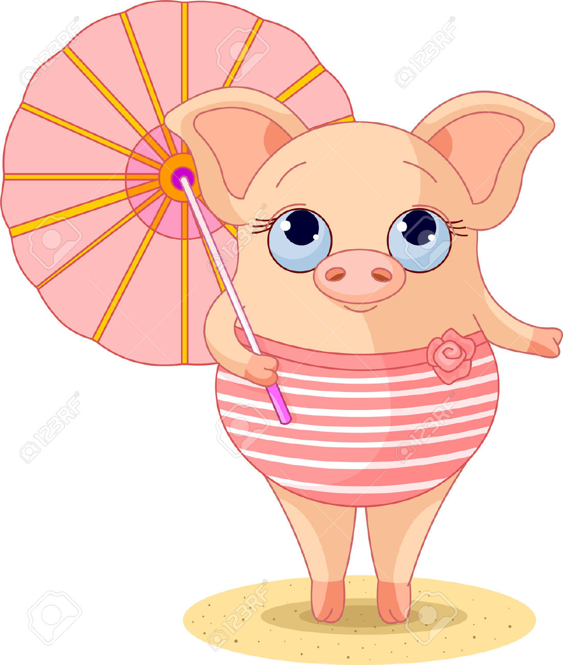 Pig Dressed A Swimming Suite Under Umbrella Royalty Free Cliparts.