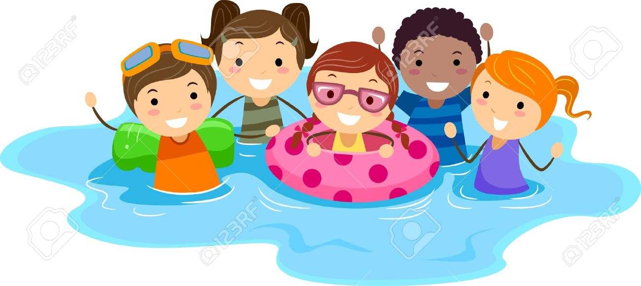 Children swimming in pool clipart.