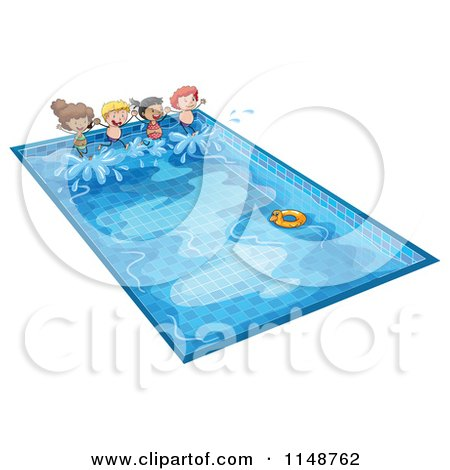 Cartoon of Children Jumping into a Swimming Pool.