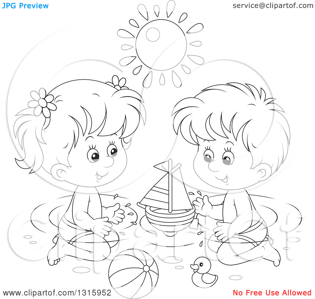 Outline Clipart of a Cartoon Black and White Boy and Girl Playing.