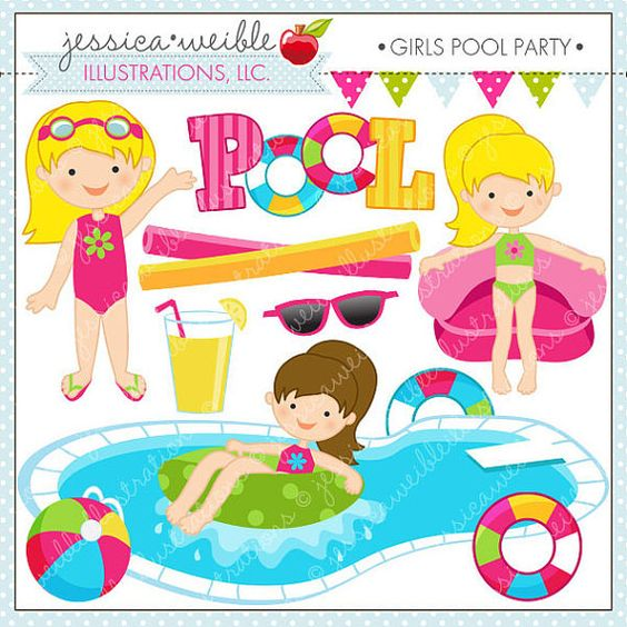 Girls Pool Party Cute Clipart, Pool Party Clip Art, Summer Party.