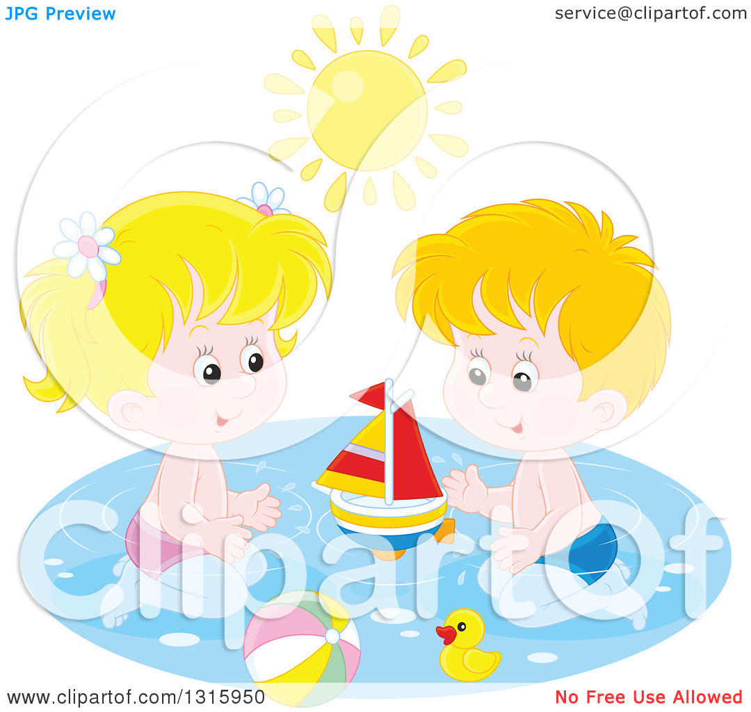 Clipart of a Caucasian Boy and Girl Playing with a Sailboat, Beach.
