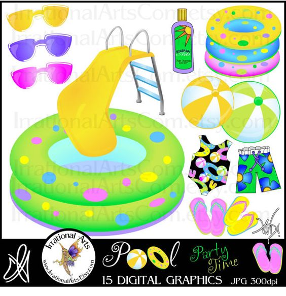 Pool Party Time INSTANT DOWNLOAD clipart graphics set with 15.