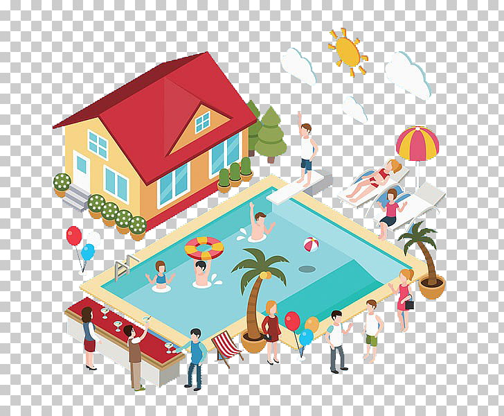 Swimming pool, Swimming pool and house PNG clipart.