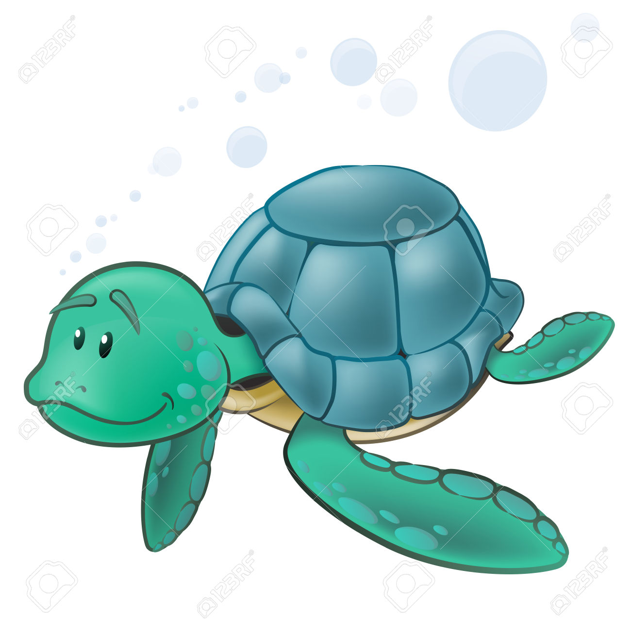 Cute Sea Turtle Character. Great Illustration Of A Cute Cartoon.