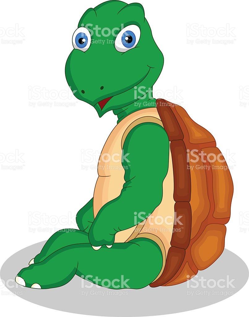 Cute Green Turtle Cartoon stock vector art 519663140.