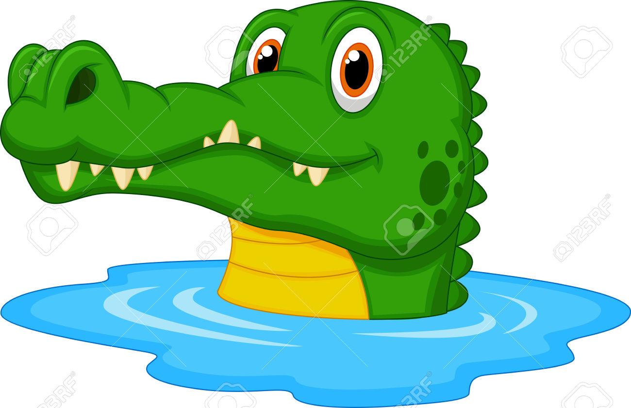 Cute Crocodile Cartoon Swimming Royalty Free Cliparts, Vectors.
