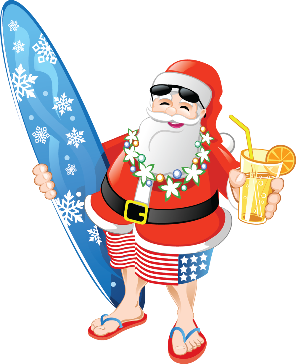 christmas in july santa claus in swim suit clipart.