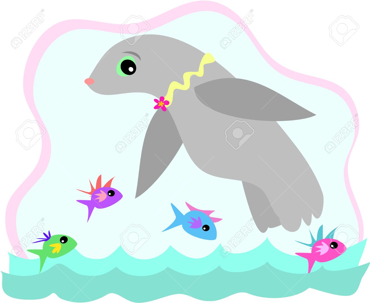 Seal Swimming With Fish Royalty Free Cliparts, Vectors, And Stock.