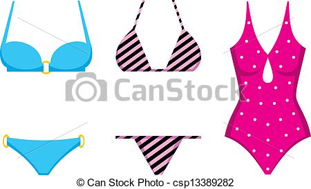 Vector of Three swimming suits csp13389282.
