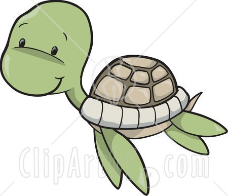 Cute Baby Sea Turtle Swimming Clipart Illustration.