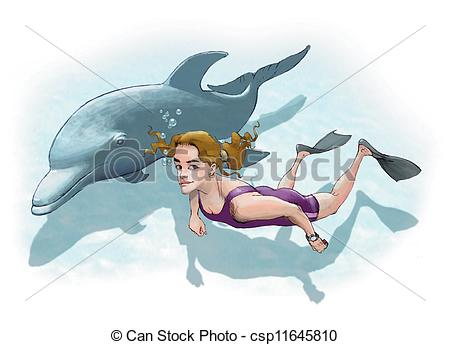 Clipart of Swimming with dolphin.