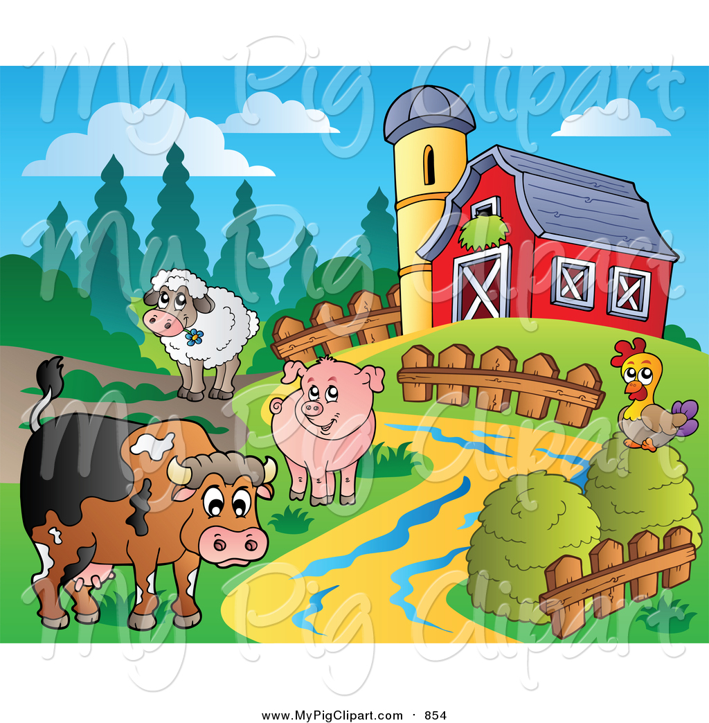 Swine Clipart of a Farm Animal Scene with a Red Barn and Silo by.