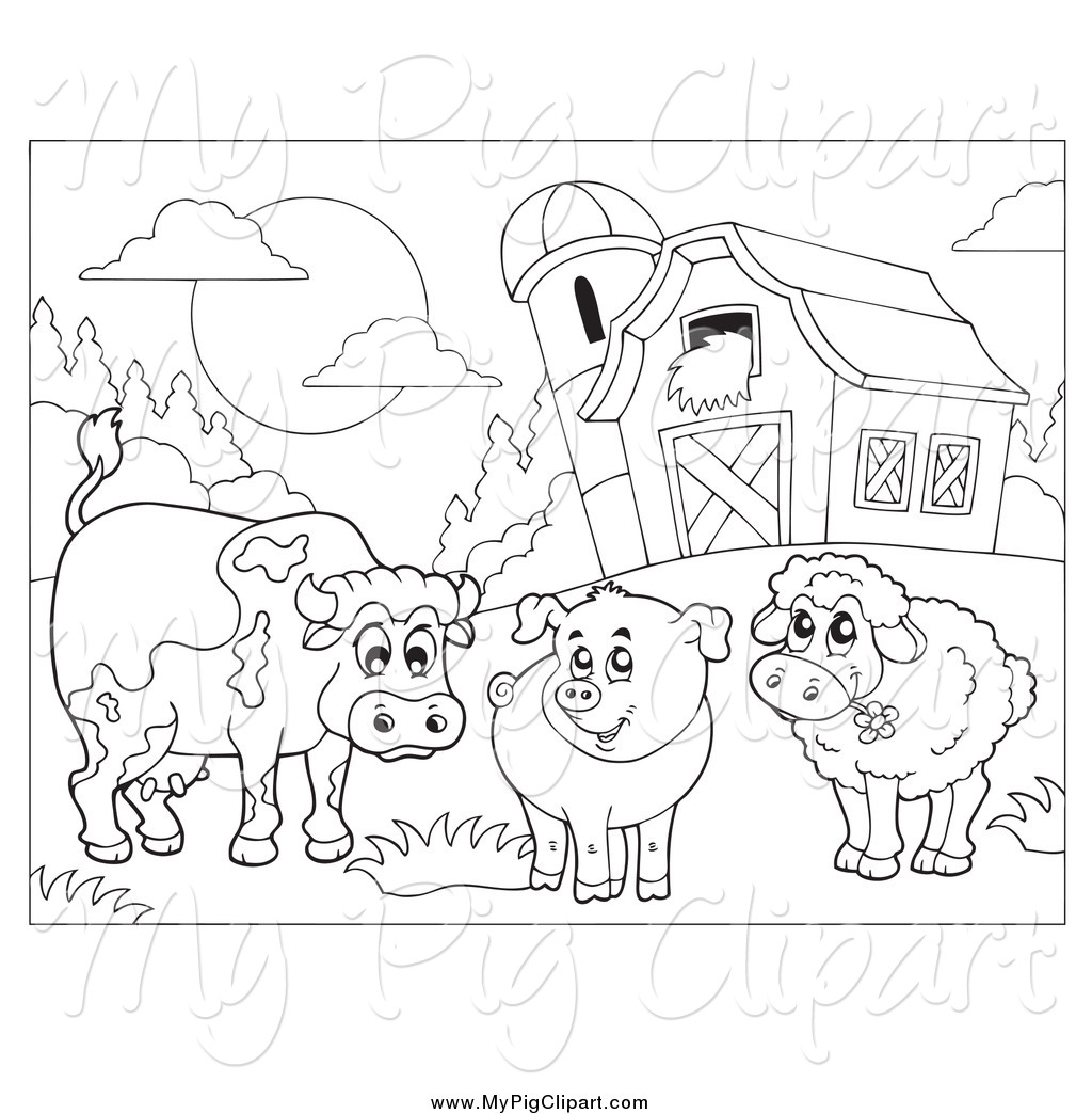 Swine Clipart of a Black and White Cow, Pig and Sheep by a Barn by.