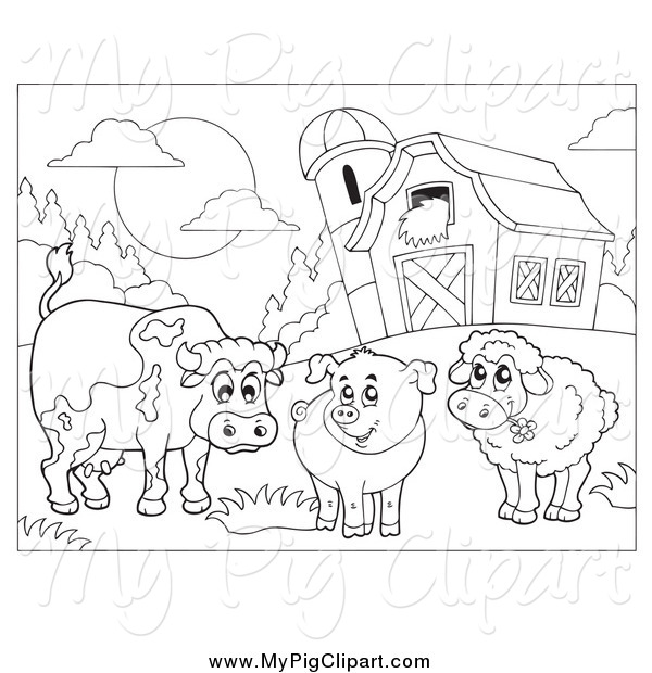 Swine Clipart Of A Black And White Cow Pig Sheep By Barn