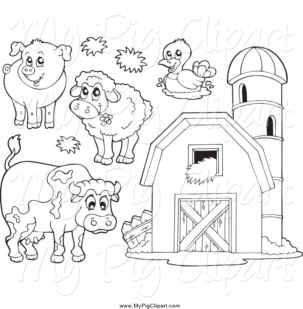 Swine Clipart Of Black And White Farm Animals And A Barn With.
