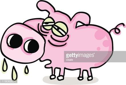 Handmade Swine Flu Cartoon illustration Clipart Image.
