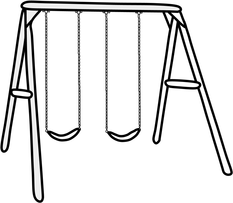 Swings, Set, Black And White, Png.