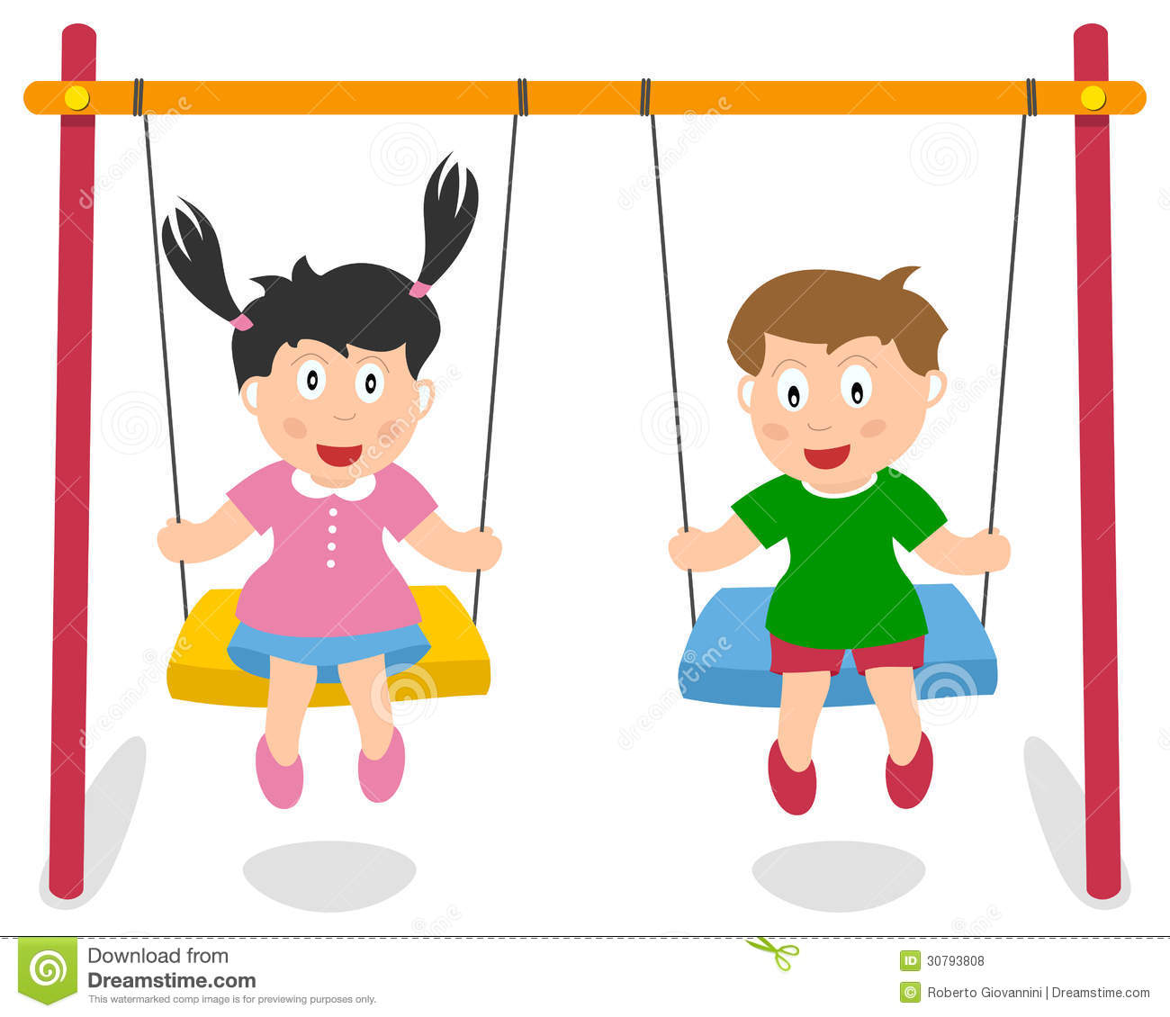 Girl On Swing Clipart.