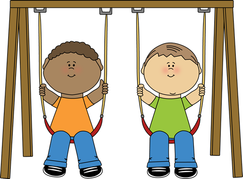 Kids on a Swing Clip Art.
