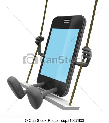 Drawings of mobile phone on the swing, game concept on smartphones.