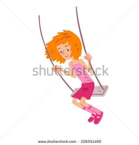 Vector Illustration Baby Girl Swinging On Stock Vector 111322832.