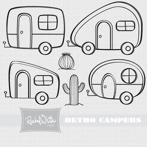 Retro Campers Vector Illustrations.