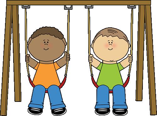 Kids on a Swing Clip Art.