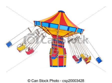 Clipart of Carnival Swing Ride isolated on white background. 3D.