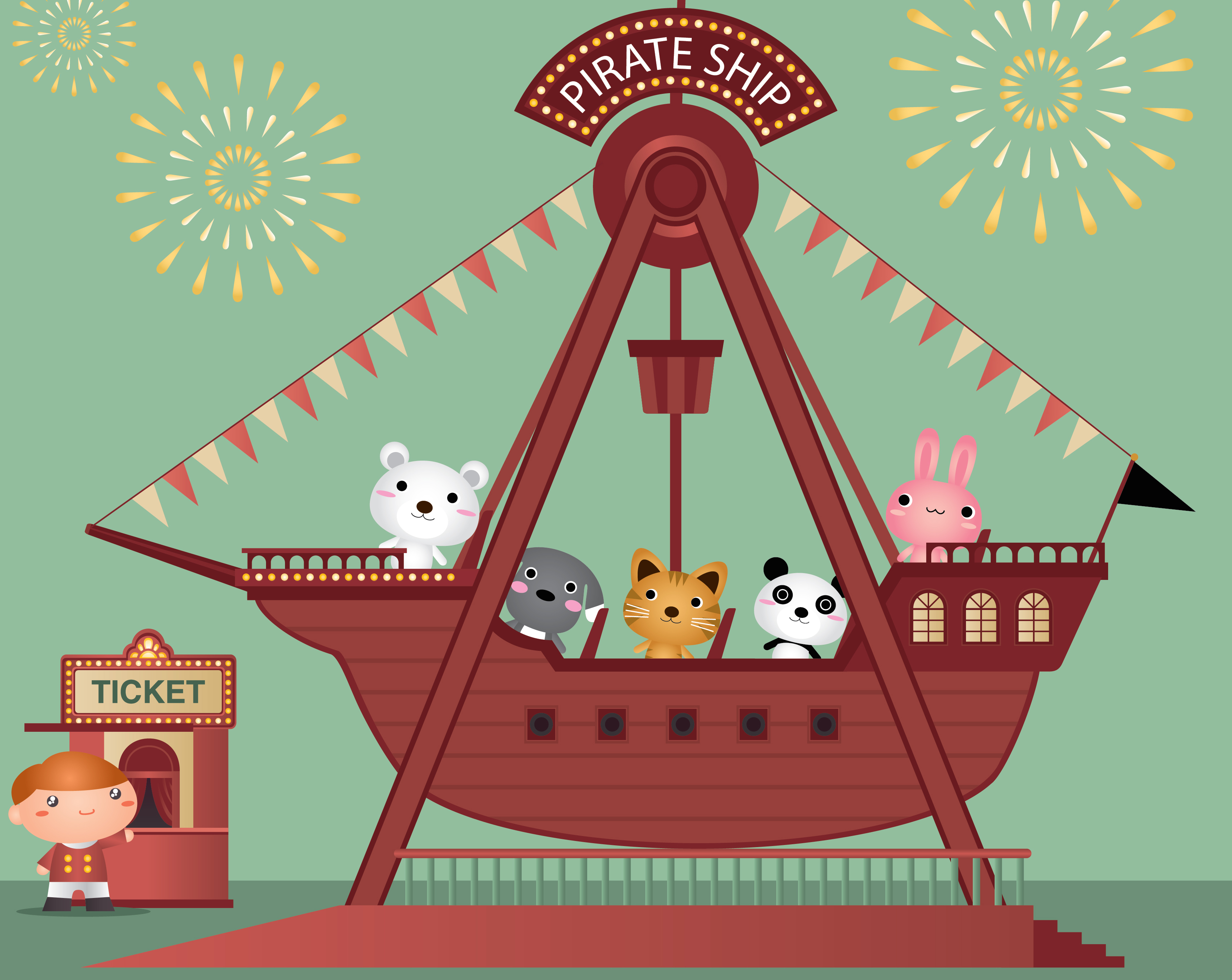 An ode to the Pirate Ship, my favorite carnival ride.