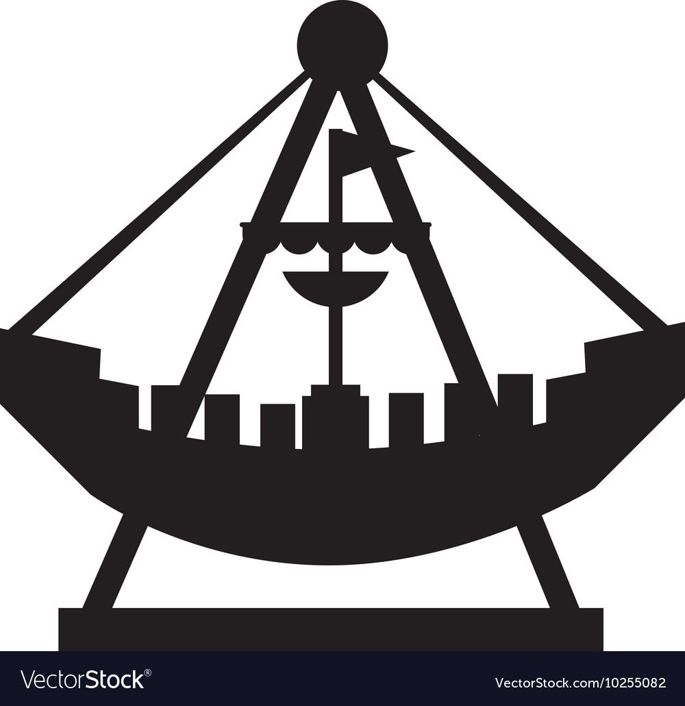 Attraction ship pirate fair icon.