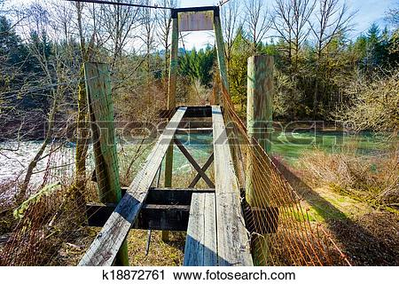 Stock Photography of Old Swinging Bridge Siuslaw River k18872761.