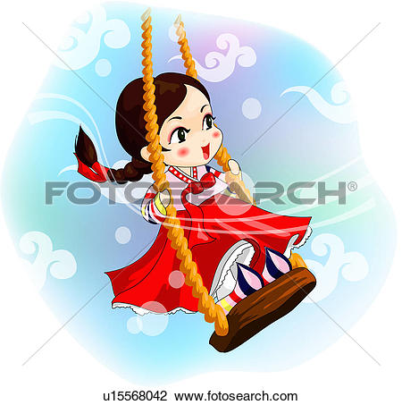 Clip Art of cloud, traditional, sky, swinging, swing, korean.
