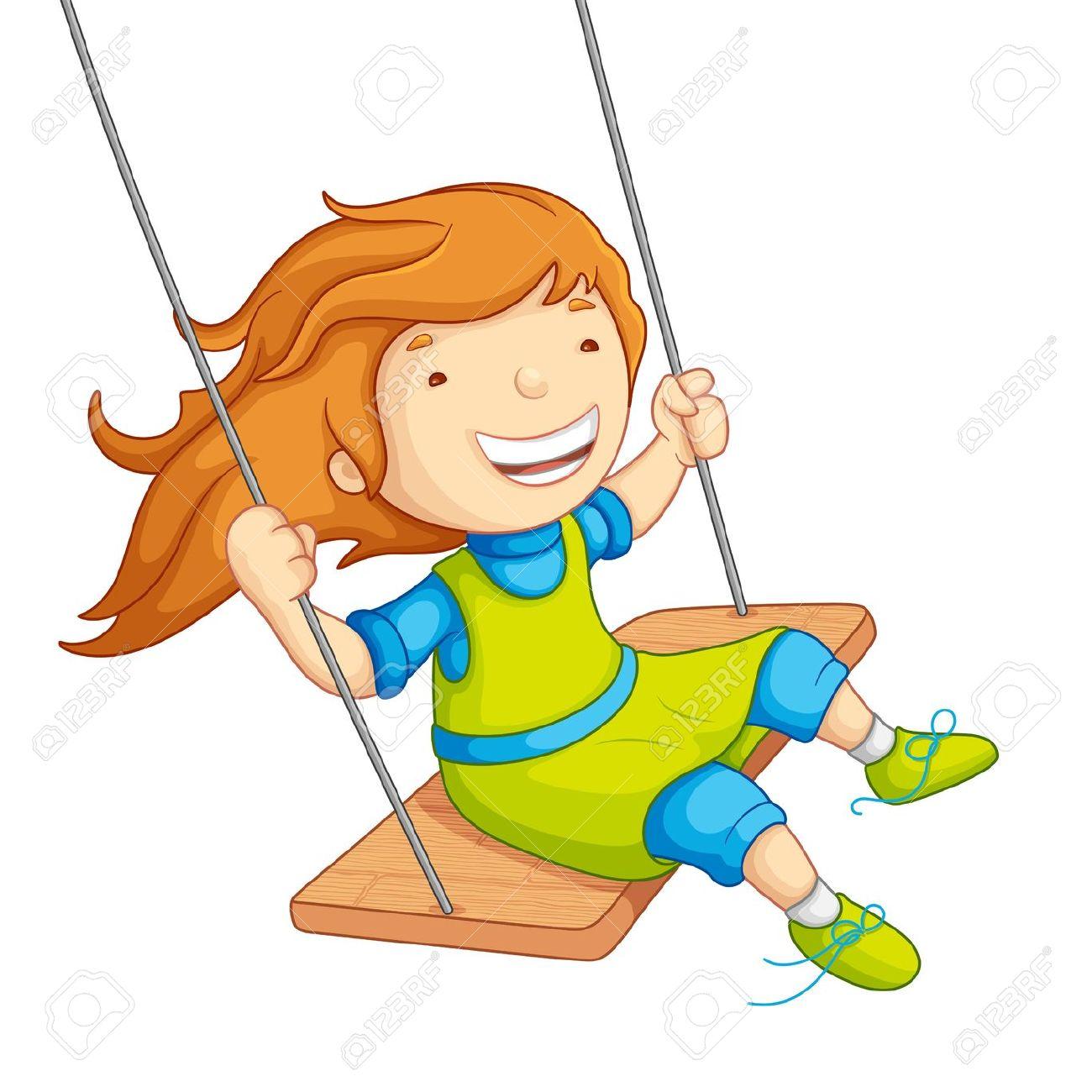 Clipart girl swinging.