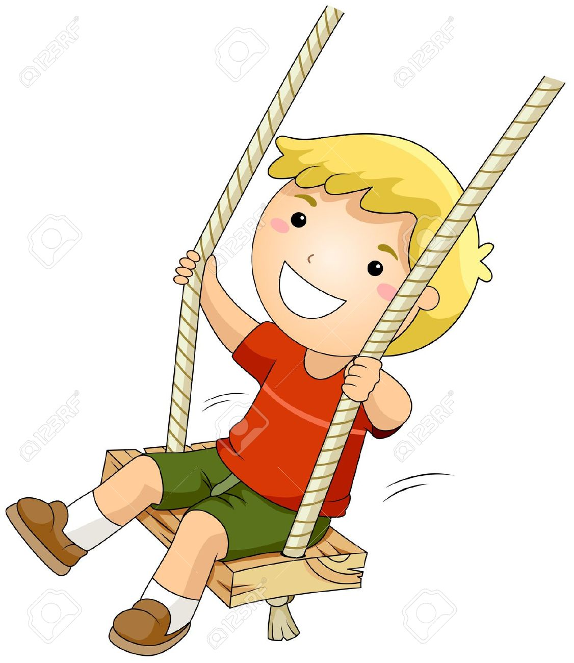 Child swinging clipart.