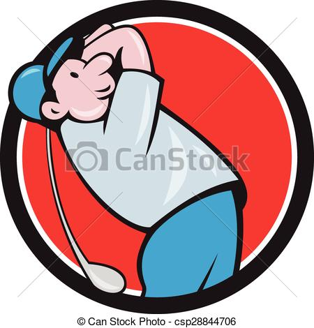 Vector Clipart of Golfer Swinging Club Circle Cartoon.
