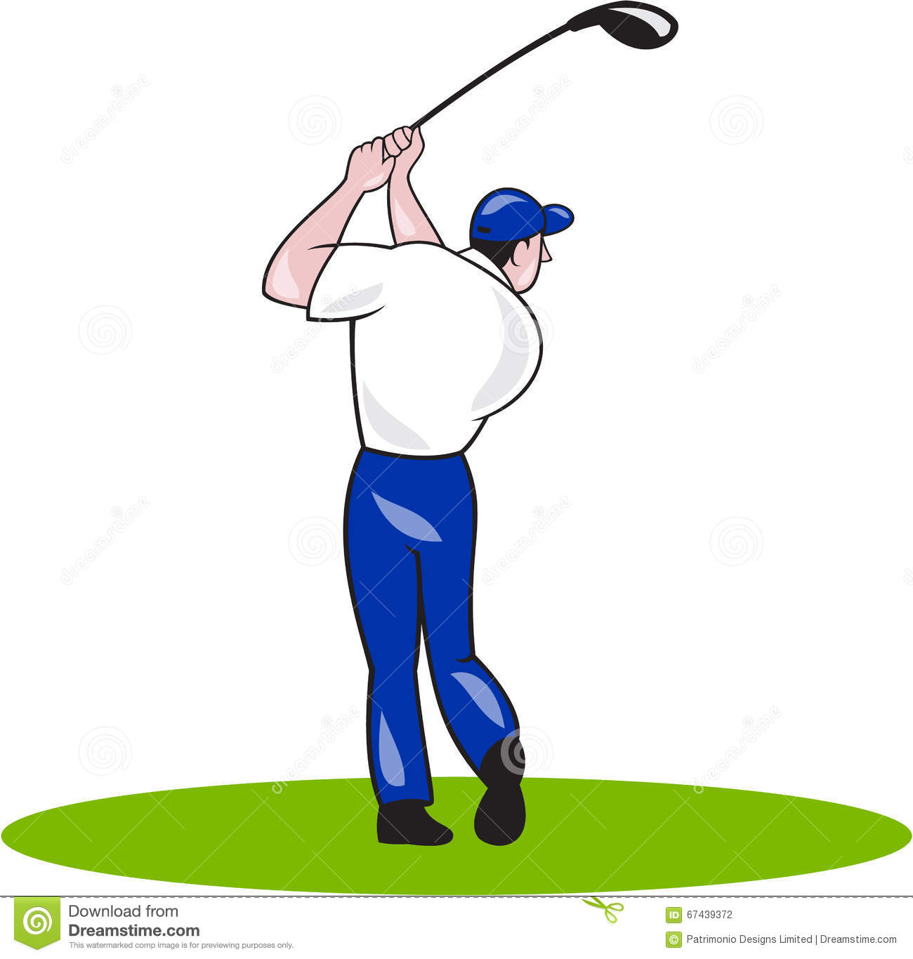 Golfer Swinging Club Circle Cartoon Stock Vector.