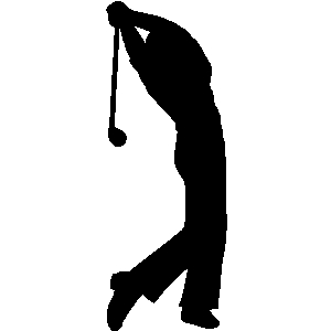 Golfer swinging clipart.