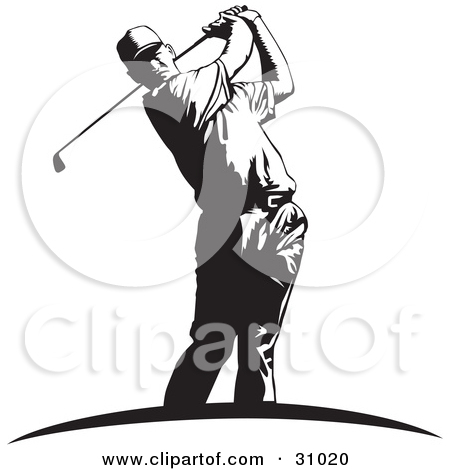 Clipart Illustration of a Little Boy Swinging A Golf Club While.